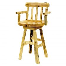 16310 Cedar Log Counter Stool- with Arms 24in Seat Height