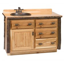 83420-T Hickory 4 ft Vanity with Top-Sink Left-Traditional