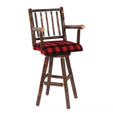 86570 Hickory Swivel Counter Stool with Arms and Upholstered