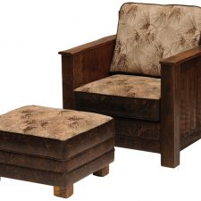 BW2450-01 Barnwood Lounge Chair -BW2450-09 Ottoman Fabric Wh
